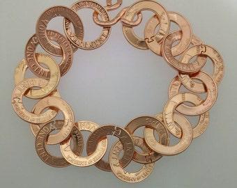 Copper penny bracelet coin jewelry handmade