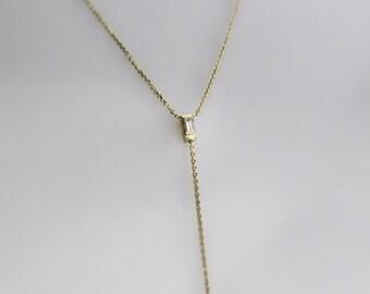 Delicate 14k Gold Diamond Baguette Y Necklace