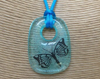 Butterfly Necklace, Transparent Blue Fused Glass Pendant, Black Butterfly, Ready to Ship, Fused Glass Jewelry - Flutter - -6