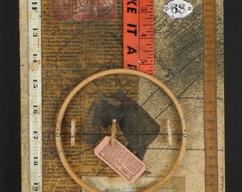Ida Surely Is A Dandy: original mixed media assemblage art, upcycled collage, reclaimed art, salvaged art, Leslee Lukosh, gallery art