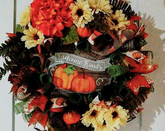 Custom Fall themed mesh wreath