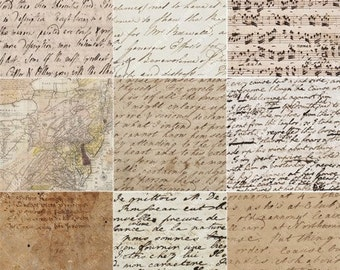 Handwriting, Maps and Music in 2 inch squares -- piddix digital collage sheet no. 708