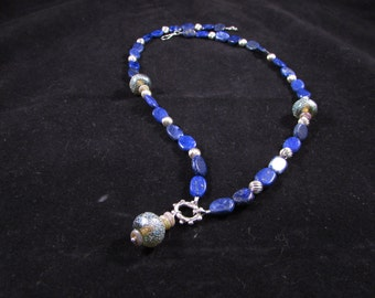 Lapis lazuli necklace, lapis and silver necklace, gemstone necklace, semiprecious stone necklace, hand beaded necklace