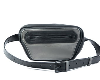 Maruu Leather gray fanny pack bag