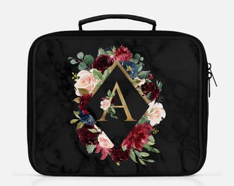 Black Marble Lunch Box Lunch Bag Lunchbox Personalized Lunch Monogram Lunch Box Cute Lunch Box Custom Name Lunch Marble Print Lunch Floral
