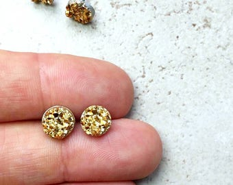 Set of 7 Yellow Gold Bridesmaids Earrings, 7 Pairs with Gift Boxes, Tiny Gold Faux Druzy Earrings, Small 8mm Round Studs Wedding Jewelry