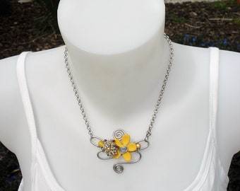 Necklace - yellow Orchid Necklace