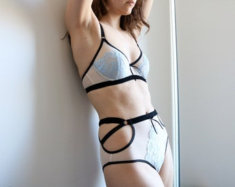 ELWYN Limited-Edition Ivory and Ice Blue Lace Mesh Sheer Underwired Bra and High-Waisted Panty, Handmade Lingerie to Order