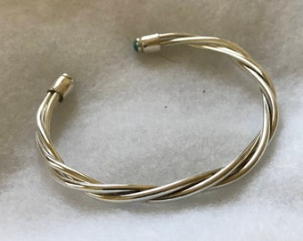 Silver twist cuff with Turquoise