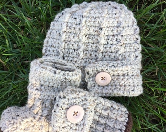 baby hat booties set rustic country neutral button