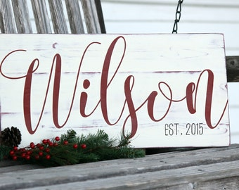 "Custom name sign, Last name sign, Family name sign, Custom wedding gift, Housewarming gift, Established sign, Measures 10.5"" x 22"""
