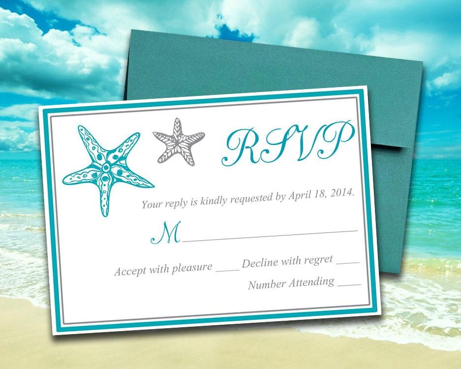 Customizable Wedding Invitation Templates: Beach Wedding RSVP Template Response Card Blissful