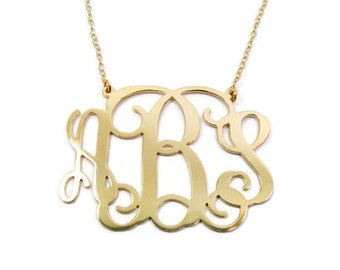 "Gold monogram necklace. 0.8"" Personalized necklace. Gold plated sterling silver 925. Gold necklace. Gold initial necklace. Monogram jewelry."
