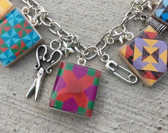 Quilting Jewelry, Quilting and Sewing Charm Bracelet, Quilting Blocks, Love to Quilt