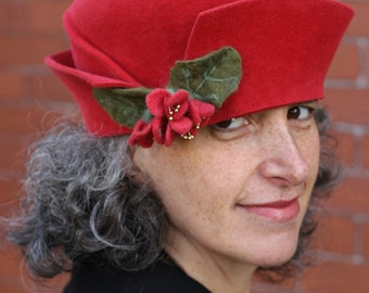 Red Felt Hat - Twenties Style - One of a Kind - Furfelt and Merino wool Fowers- Size 22.5""