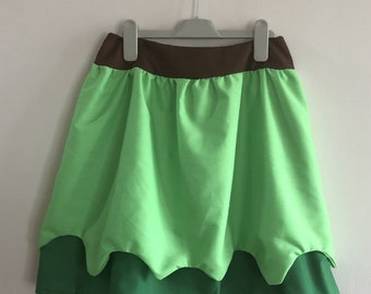 Peter Pan inspired skirt, in adult size, with elasticated waist in a two shades of green and brown waistband