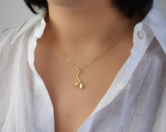 Dainty Sprout Gold Necklace / Mother Necklace / Delicate Gold Necklace / Gold New Mom Necklace / New Life Necklace / Gift for Mom AD022