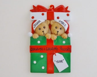 Personalized Ornament for Grandparents with 2 Grandchildren - Personalized Ornament for Grandparents with 2 Grandkids