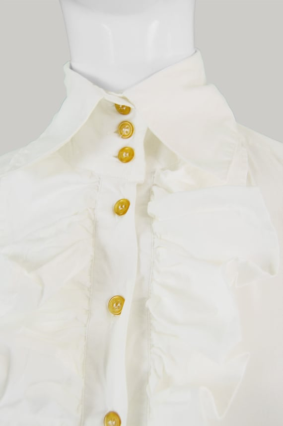 White Blouse Pirate VIVIENNE Top Ruffled Shirt Top 90s Shirt Women Top White WESTWOOD Party Vintage Victorian Style Blouse Frilly Ruffled zHZqSZw