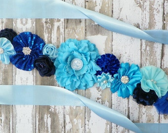Blue Maternity Sash, Gender Reveal Party, Its a Boy, Blue Belly Band, Mommy to Be Sash, Maternity Photos, Baby Shower Sash, Blue Bridal Sash