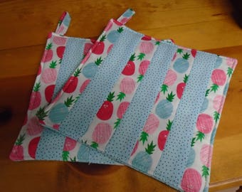 Quilted Hot Pads,Hot Pad,Hot Pads,Pineapples,Pineapple Pot Holders,Pot Holders,Pot Holder, Pink Kitchen,AquaPot Holders,Pineapple Hot Pads