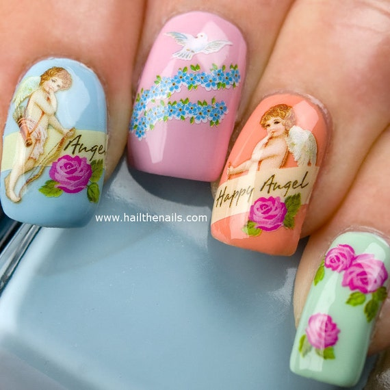 Nail Art Water Transfer Decal Cherubs & Angels Valentines Day