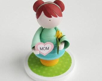 Quilled paper art doll girl figurine, heart for mom, paper tulip, gift for new mom, mothers birthday, mom keepsake, baby shower gift