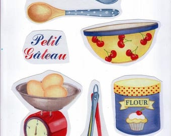 Sewing applique for sewing or craft images: set of 6 images to make 1 oilcloth cake