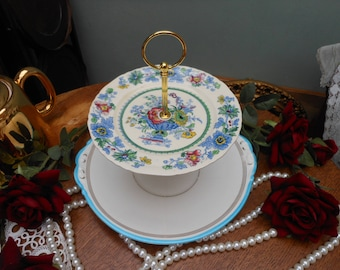 SALE - 1950's VINTAGE CAKE Stand - Two tier - Blue floral - English bone china - Afternoon tea - Vintage Wedding - Wedding present - Baking