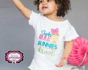 Chicks Rule Bunnies Drool, Easter Shirt, Girl Easter Shirt, Chicks Shirt, Egg Hunt Shirt, Easter Gift