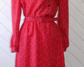 Out of the Office | Vintage 1980's Breli Red Belted Secretary Dress | S M