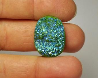 Natural Green Blue Titanium Druzy Quartz Cabochon Gemstone Oval Shape Ring size 23x17x9 mm. 26.50 Cts.