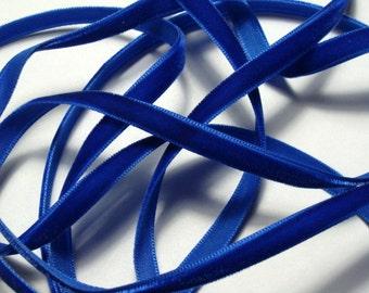 "1/4"" Velvet Ribbon - Royal Blue - 5 yards"