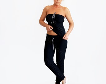 Black Draw String Pants and Comfy Sweet Pants it's the best Summer Trousers or Lounge Track Pants that you can wear Casual Cuffed Jogger