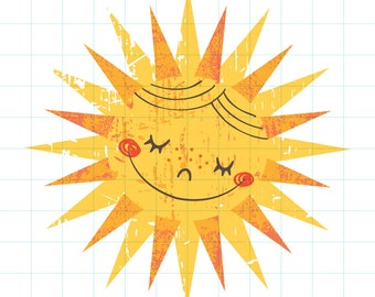 Happy sun clipart - Hand drawn instant download PNG graphic - 0006