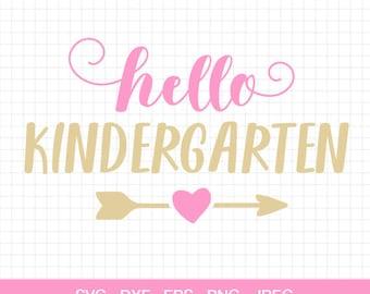 Hello Kindergarten SVG, 1st Day Kindergarten, School svg, Back to School svg, Kindergarten Cut File, Cut Files for Silhouette & Cricut