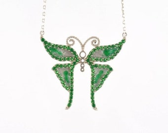 Memorial Day SALE Butterfly Necklace by Trianda - Elsa Collection - 925 Sterling Silver Simulated Emeralds and Handmade Enamel