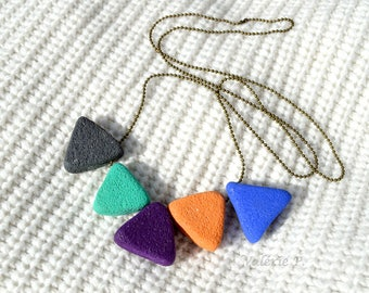 Necklace large triangular beads in autumnal colours VALERIE P polymer clay