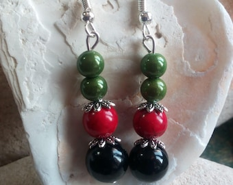 965 - earrings, black, green and red beads.