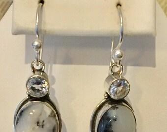 Sterling Silver Brazilian Dendrite Opal Earrings