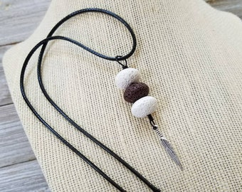 Essential oil diffuser necklace, Personal Diffuser, Aromatherapy Jewelry, Feather Charm, Lava Stones.