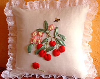 Cherry Blossom Decorative Pillow Cover with lace Embroidery ribbons Embroidered fruit berry Cotton 100%