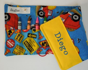 Personalized Crayon Roll - Construction Trucks, crayons INCLUDED, crayon roll-up, pencil case, 12+