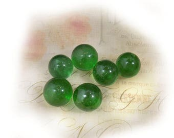 green Glass Marbles -green toy marbles - Vintage Glass Marble - Game Marbles - Craft Marbles -Toy Marbles - lot of 6 - # 27