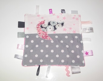 Tags blanket pink and grey liberty