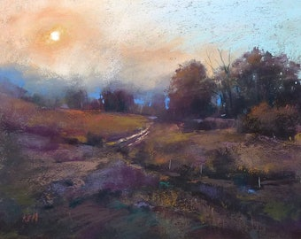 Dramatic Contemporary Colorado Landscape Sunset  Original Pastel Painting 9x12