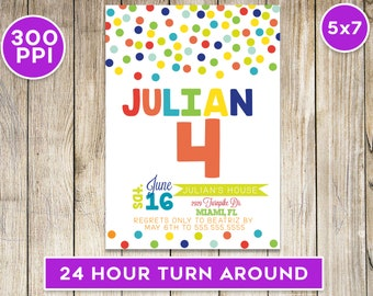 Polka Dot Birthday Invitation 5x7