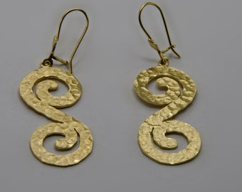 Spirals- gold Earrings Spiral Hammered Spirals Earring dangle earrings