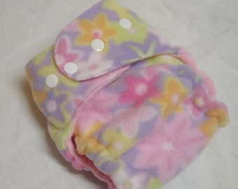 Petite Fleece AI2 Hybrid Fitted Organic Cotton Cloth Diaper Lavender Flowers 8-20 lbs