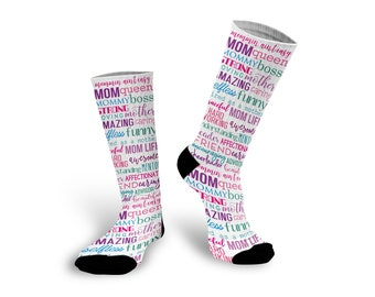 Mom Life, Mother's Day Gift, Custom Socks, Socks, Personalized Socks, Picture Socks, Photo Gift, Customized Photo Socks --62181-SOX1-603
